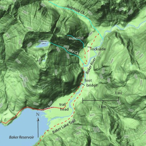 Baker River trail (red dashes) begins at the head of Baker Reservoir. Sheeseh, even the map is green! Click to enlarge