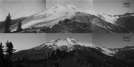 1892 ('91?) and 2012 photos of Mount Baker's east flank, showing profound glacial recession. Click to enlarge.