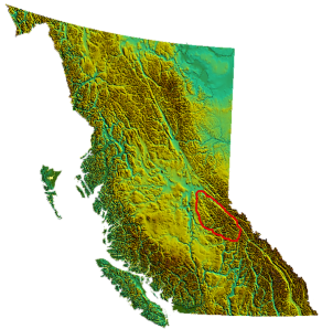The Caribbo Mountains in British Columbia are circled.