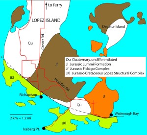 Bedrock geology for the southern end of Lopez Island, adapted from Brown and others, 2007. See references below.