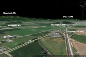 Google Earth image looking southeast over the Cook Road I-5 exit.
