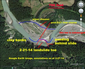 Annotated Google Earth image, with corrected location of 2-21 landslide and new river channel at the toe. Click o enlarge any image.