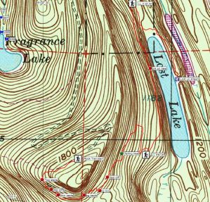 Red line marks the new Rock Trail. Contour interval is 20'. Note scale in lower left.