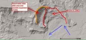 Interpretation of landslide scarp on LiDAR image, by Dan McShane.