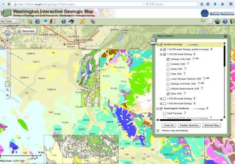 screen capture of a portion of the interactive geology map.