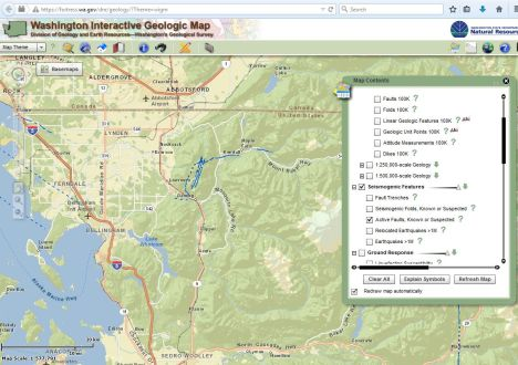 Interactive map showing mapped faults in wesern Whatcom County.