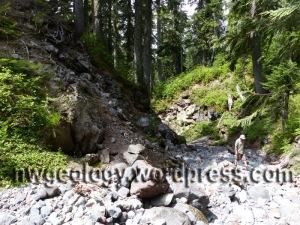 Mount Baker andesite (left) in the East Fk of Pratt Creek.