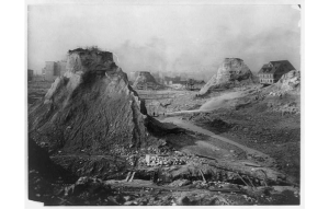 Mounds left during sluicing of Denny Hill. Asahel Curtis photo, 1910.