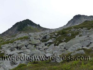 The contact between the schist (left) and the granodiorite is in this saddle above the trail.